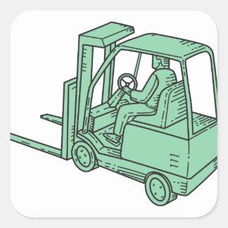 Forklift Truck Operator Mono Line Square Sticker