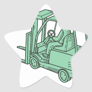 Forklift Truck Operator Mono Line Star Sticker