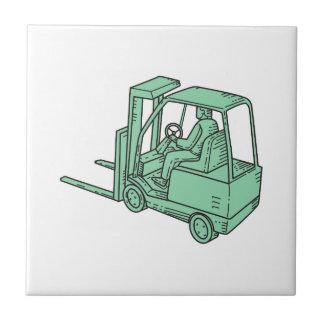 Forklift Truck Operator Mono Line Tile