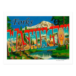 Forks, Washington - Large Letter Scenes Postcard