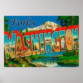 Forks, Washington - Large Letter Scenes Poster