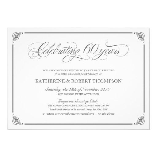 Formal 60th Anniversary Invitations