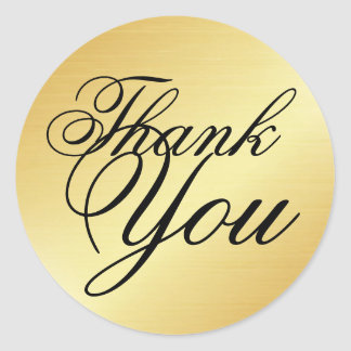 Formal and Elegant Gold and Black Thank You Classic Round Sticker
