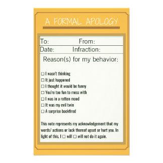Formal Apology Checklist Design 3 Custom Stationery