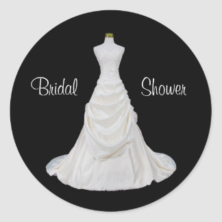 Formal Black and White Bridal Shower Envelope Seal Round Sticker
