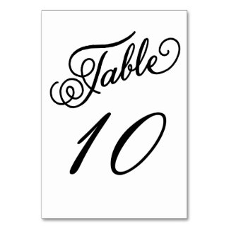 Formal Black and White Table Number Card