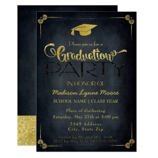 Formal Black/Gold Gaduation Party Invitation