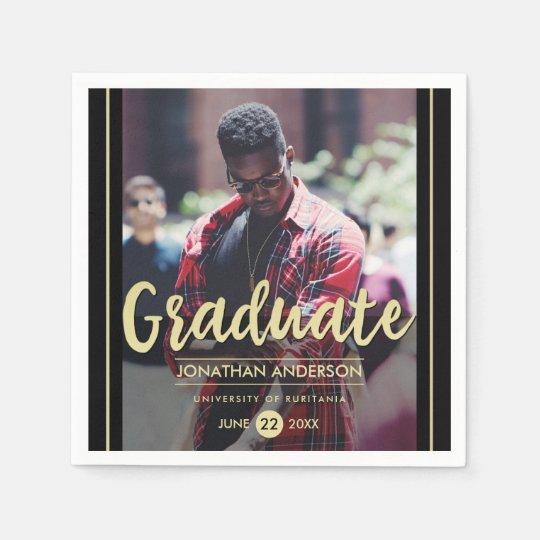 Formal Black & Gold Graduation Party   Photo Disposable Napkins