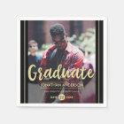 Formal Black & Gold Graduation Party | Photo Paper Napkin