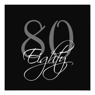 "Formal Black Grey 80th Birthday Invitations 5.25"" Square Invitation Card"