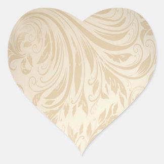 Formal champagne gold Damask Wedding Heart Sticker