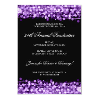 Formal Corporate Fundraiser Party Sparkles Purple Card