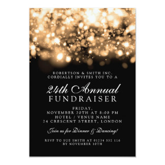 Formal Corporate Gala Event Gold Sparkling Lights Card