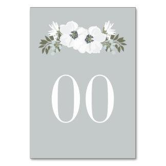 Formal Custom Color Floral Table Number Card