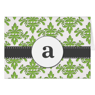 Formal Damask Monogram Card