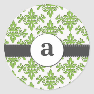 Formal Damask Monogram Classic Round Sticker