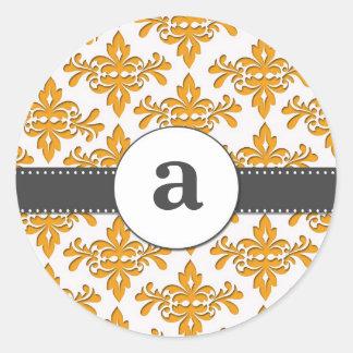 Formal Damask Monogram Round Sticker