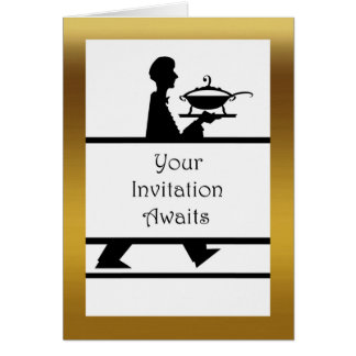 Formal Dinner Invitation, Server with Soup Tureen Card