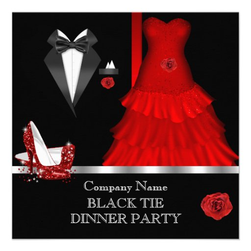 Formal Dinner Party Black Tie Red Shoe 2 Personalized Invite