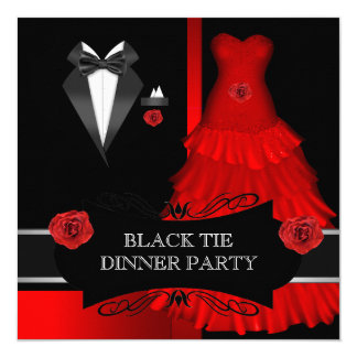 """Formal Dinner Party White Black Tie Red 5.25"""" Square Invitation Card"""