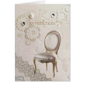 Formal elegant swirls paris vintage wedding card
