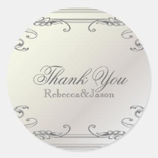 Formal elegant swirls Pearl White vintage Wedding Sticker