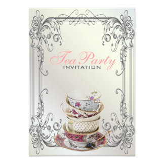 Formal elegant swirls  White vintage tea party Card
