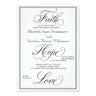 Formal Faith Hope Love Script Wedding Invitation