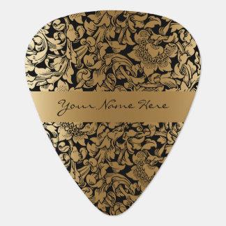 Formal Floral Black and Gold Wedding Guitar Pick