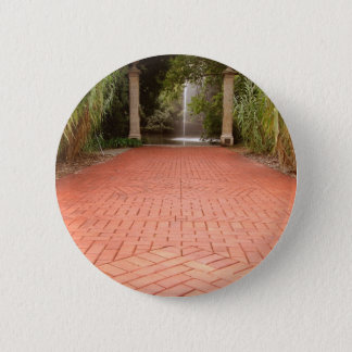 Formal Garden Path to Water Fountain 2 Inch Round Button