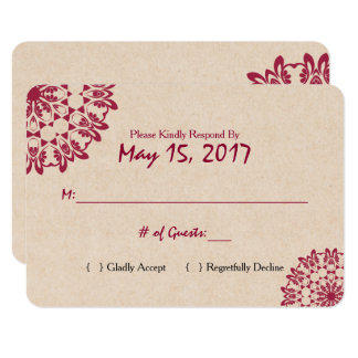 Formal Lace Wedding RSVP Card