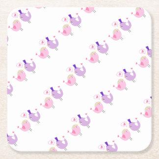 Formal Love Birds Square Paper Coaster