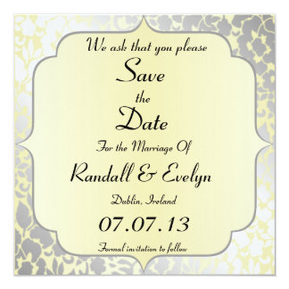 Formal Metallic Yellow Save The Date Notice 5.25x5.25 Square Paper Invitation Card