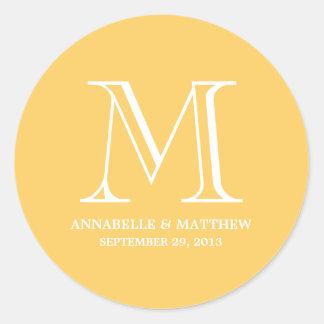 Formal Monogram Wedding Favor Label Round Sticker