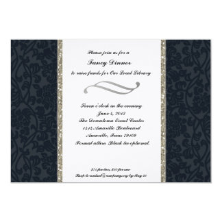 Formal Navy and Silver Fundraising Invitation