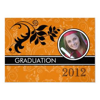 Formal Orange Photo Graduation Announcements