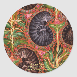 Formal Paisles, Formal Paisley Darlene P. Colt... Round Sticker