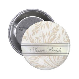 Formal Pearl White Damask Wedding Favor Pinback Button