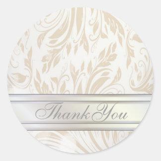 Formal Pearl White Damask Wedding Favor Sticker