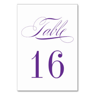 Formal Plum Purple and White Table Number Card Table Cards