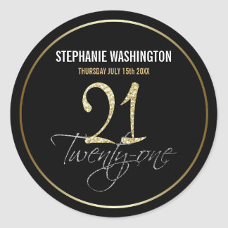 Formal Silver, Black & Gold 21st Birthday Party Classic Round Sticker