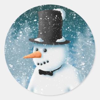 Formal Snowman Round Sticker
