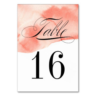 Formal Watercolor Wash Table Number Card
