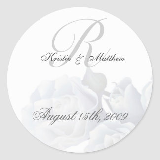 Formal Wedding - Romantic White Roses Round Sticker