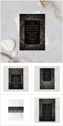 Formal Whimsical Hand Drawn Black and Gold Sparkle