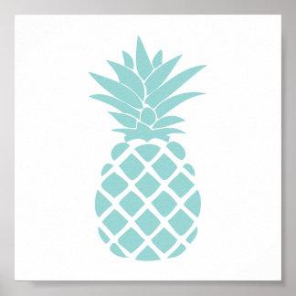 Forme décorative verte en bon état d'ananas poster