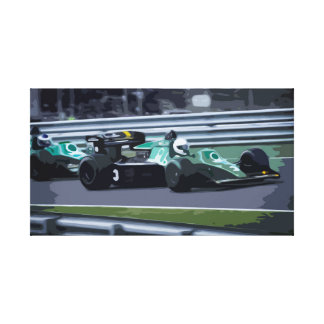 Formel 1 Racing Car at High Speed on Race Track Canvas Print