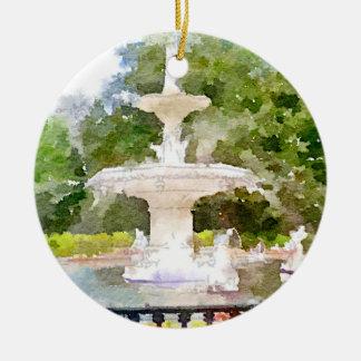 Forsyth Fountain in Savannah GA Watercolor Print Ceramic Ornament