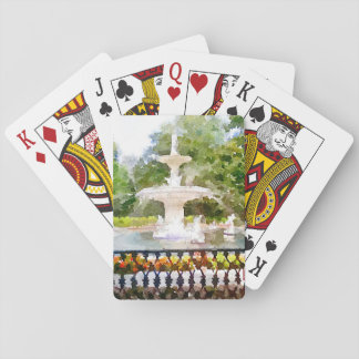 Forsyth Fountain in Savannah GA Watercolor Print Playing Cards