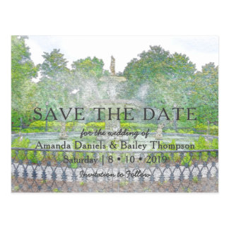 Forsyth Fountain Watercolor Photo Save the Date Postcard